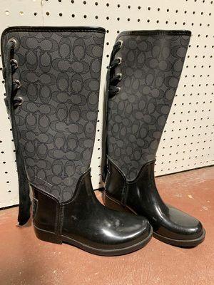Coach Tristee Rain Boots Black Size 6B for Sale in Tamarac, FL