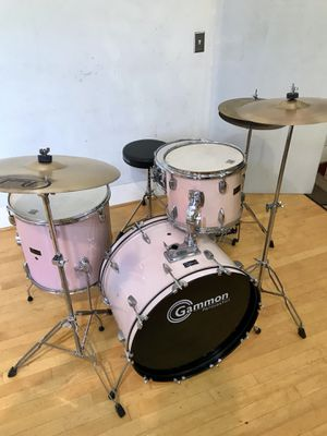 "Gammon lite pink jazz drum set 22"" bass pearl cymbals complete kit drums throne hihat sticks & key FIRM !! $275 firm in Ontario 91762 for Sale in Ontario, CA"