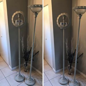 Floor Lamps, 2 Qty. 1 needs replacement glass, both are 3-way and work great. Both retail over $200.00, $50.00 both FIRM, Pickup only MOVING NEED GONE for Sale in Tampa, FL