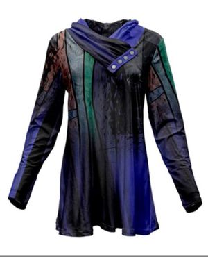 Black & Periwinkle Abstract Button-Accent Cowl Neck Tunic - L for Sale in East Cleveland, OH