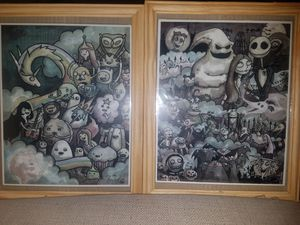 Two framed signed lithographs from adventure time and nightmare before christmas for Sale in Las Vegas, NV