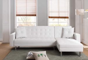 New White Bonded Leather Sofa Futon Couch Sectional for Sale in Anaheim, CA