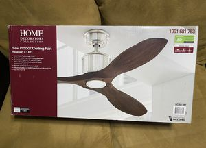 Home Decorators Collection Reagan II 52 in. LED Indoor Brushed Nickel Ceiling Fan with Light Kit and Remote Control for Sale in Miami, FL