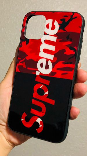 Brand new in package iphone 11 REGULAR 6.1 case cover rubber tempered glass SUPREME CAMO case for Sale in San Bernardino, CA