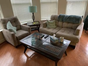 Love seat, recliner side table and coffee table for Sale in Rockville, MD