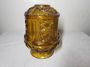 Vintage amber glass fiery lamps and candy dish for Sale in Manteca, CA
