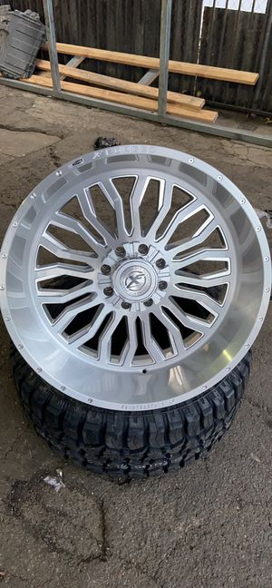26x12 XF FORGED 305 POLISHED Wheels + 37x13.50x26 8 Lug Ford-Chevy-We Finance for Sale in Stockton, CA
