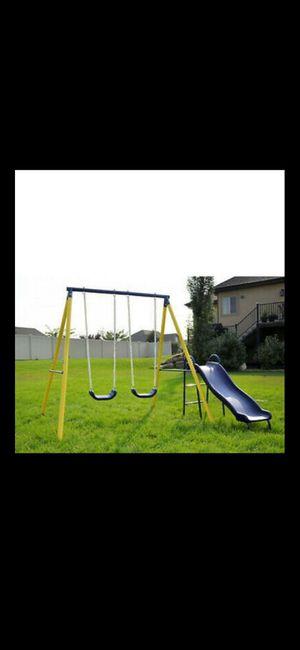 Kids Fun Play Time Metal Swing Set Outdoor W 5 ft Heavy Duty Slide & Two for Sale in Glendora, CA