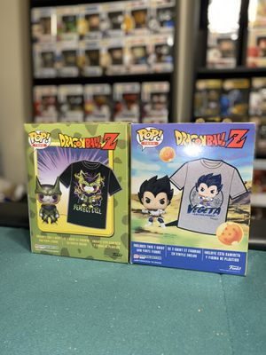 Funko Dragonball Z Metallic Perfect Cell and Metallic Vegeta Pop/Shirt sets for Sale in Houston, TX