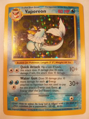 *SHIP ONLY* Played (PL) Vaporeon Holofoil #12/64 Jungle Pokemon TCG Trading Card WOTC Holographic Hologram Holo Foil for Sale in Phoenix, AZ