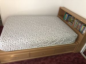 Twin bed with 6 drawers for extra storage and bookcase headboard and matress for Sale in Hayward, CA