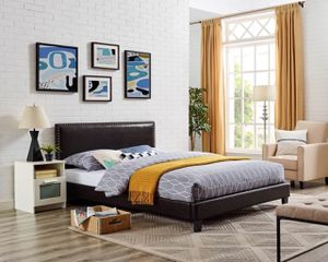 Queen Size Espresso Faux Leather Queen Low-Profile Bed Frame for Sale in Santa Ana, CA