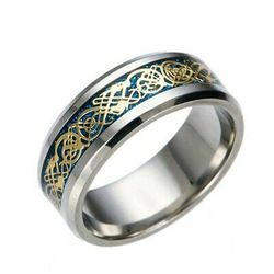 Mens Celtic Blue Stainless Steel Dragon Wedding Band Ring Size 6-13 for Sale in Los Angeles,  CA