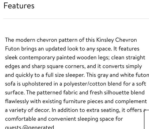 DHP Kinsley Chevron Grey and White Futon