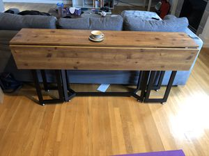 Driness Drop Leaf Console Dining Table - Weathered Oak w/ Black Metal Base - Seats 4 to 6 for Sale in Seattle, WA