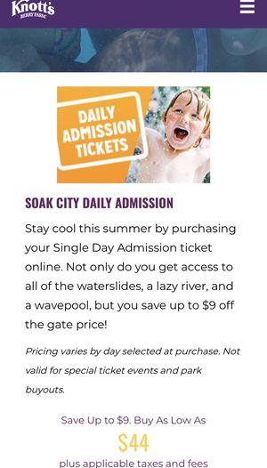 Soak city E ticket $35 for Sale in Bell Gardens, CA