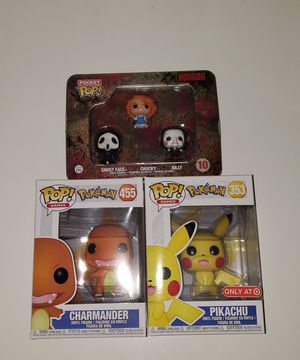 Funko pops! Pokemon and horror Pocket pop Billy ghostface and chucky for Sale in Harbor City, CA