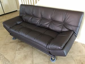 Beautiful brand new brown leather sofa futon for Sale in Oceanside, CA