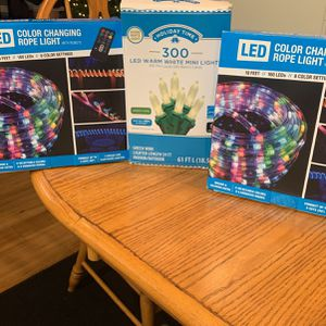 2 Led Cloro Changeing Rope Lights With Remotes Fresh In Pack And 300 LED Light S for Sale in Victorville, CA