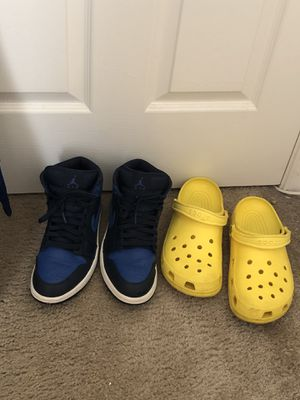 Jordan 1 Mid Game Royal + Yellow Crocs for Sale in Richmond, VA