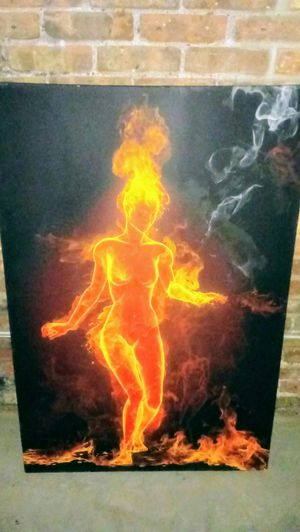 Framed Woman on Fire (Original) Bought this painting in Paris, France for $1,500 for Sale in St. Louis, MO