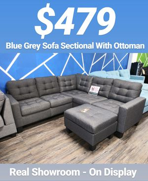 Blue Grey Couch Sofa Sectional With Ottoman for Sale in Los Angeles, CA