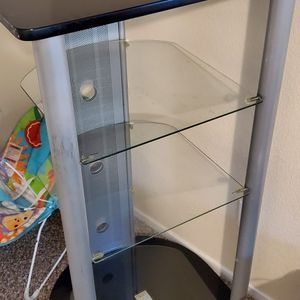 Glass and metal tv stand for blu ray projector dvd consoles for Sale in Lodi, CA