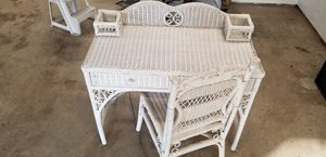 Wicker desk and chair for Sale in Puyallup, WA