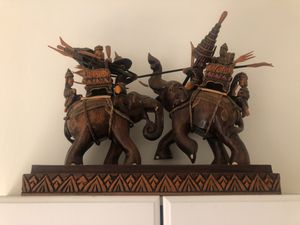 Thai Warring Elephants Wood Carving for Sale in Los Angeles, CA