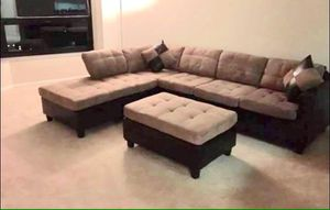 Light brown Sectional Sofa with Reversible Chaise!!Brand New Free Delivery for Sale in Downers Grove, IL
