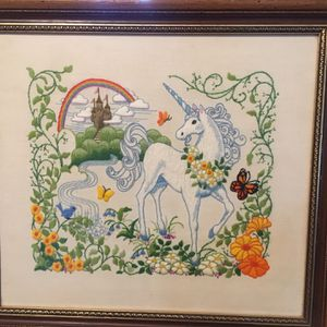 Vintage Unicorn Needlepoints, Custom Framed for Sale in Oroville, CA