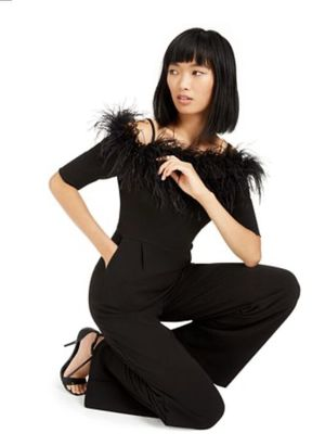 Calvin Klein Off the Shoulder Feather Jumpsuit. NWT. Size 8. for Sale in Carlsbad, CA