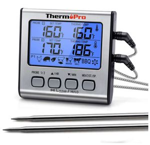 ThermoPro TP-17 Dual Probe Digital Cooking Meat Thermometer Large LCD Backlight Food Grill Thermometer with Timer Mode for Smoker Kitchen Oven BBQ, S for Sale in Garland, TX