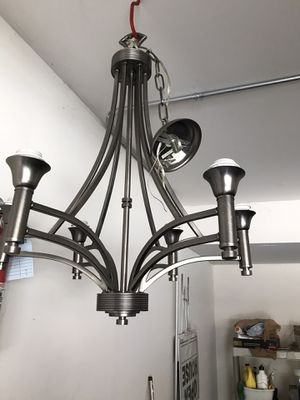 6 light brushed chrome chandelier- excellent condition for Sale in Wheeling, IL