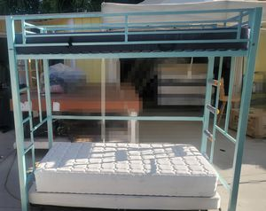 TWIN SIZE IRON BUNK BED MATTRESS INCLUDE for Sale in Hemet, CA
