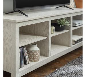 "Manor Park Wood TV Media Storage Stand for TVs up to 78"" - White Wash Description;Adjustable Shelves, Cable Management Brand Manor Park Manufactur for Sale in Houston, TX"