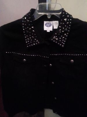 New Black denim jacket with Rhinestones. Also have New White one with rhinestones as well. for Sale in Kansas City, MO