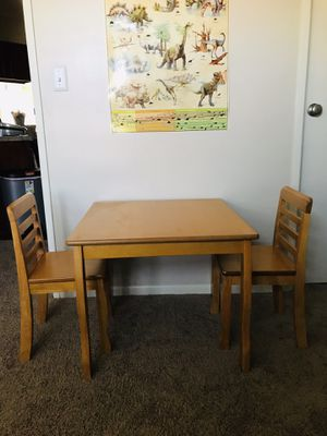 Solid wood kids table+2 chairs made in Vietnam for Sale in Naperville, IL