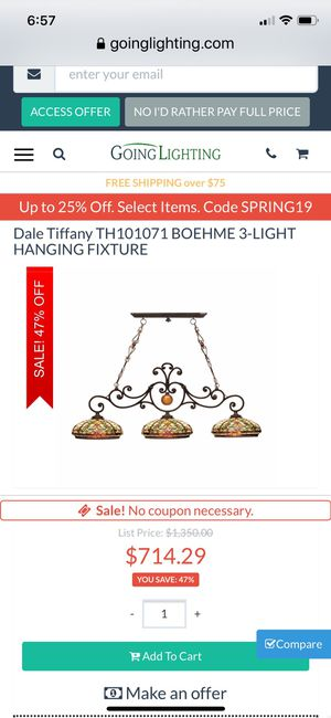 Dale Tiffany Boehme 3 light hanging fixture for Sale in Allen, TX