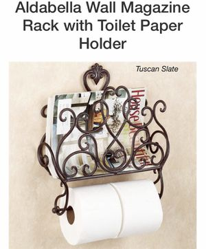 Magazine rack with toilet paper holder u also can use for towel holder for Sale in Phoenix, AZ