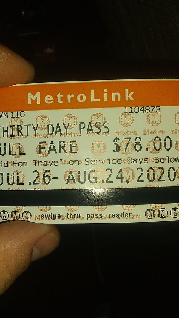 Monthly Metro bus pass