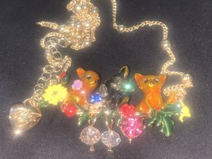 Betsy Johnson acrylic 🐈 garden flower 🌺 pendant chain for Sale in Lombard, IL