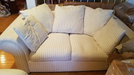 Cream Couch with Stripes for Sale in Laurel,  MD
