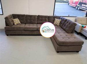 New Charcoal Waffle Suede Reversible Sofa Sectional Couch - Financing Available for Sale in Moreno Valley, CA
