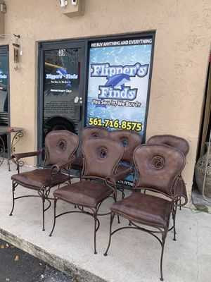 Set of 6 iron and leather chairs for Sale in Delray Beach, FL