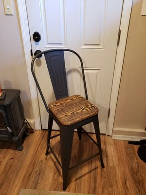Bar chair. Grey metal and wood seat. for Sale in Vancouver, WA