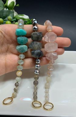 Irregular Natural Stone Open Bracelet Round Glass Beads Clasp Bracelet, Each $12 for Sale in Los Angeles,  CA