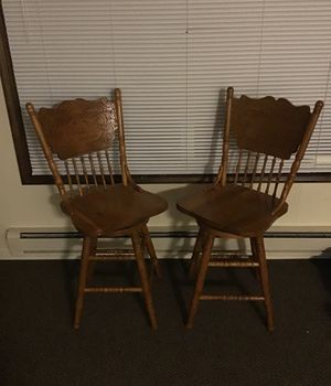 Solid wood swivel bar stools carved for Sale in Anacortes, WA