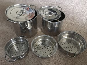 2 large canning/soup/steamer pots with 3 strainers. Excellent condition for Sale in Moon, PA