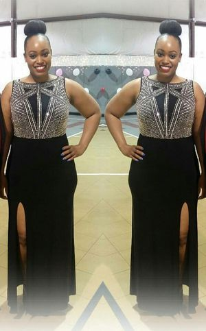Black Gown Dress with Silver Beaded Details for Sale in Douglasville, GA